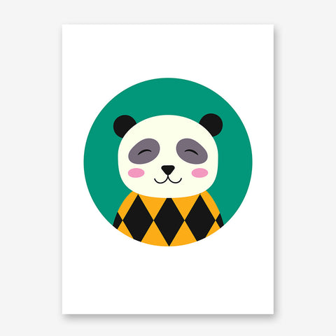 Nursery poster print with a smiley panda in a green circle.