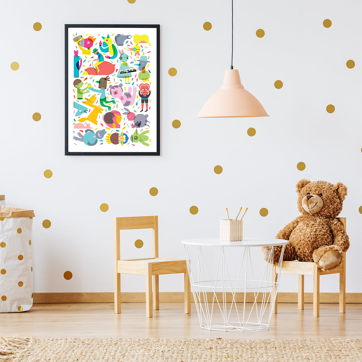 Party graphic print, with cheerful characters and confetti, on white background, in kids room