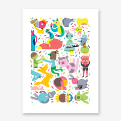 Party graphic print by Judy Kaufmann, with cheerful characters and confetti, on white background.