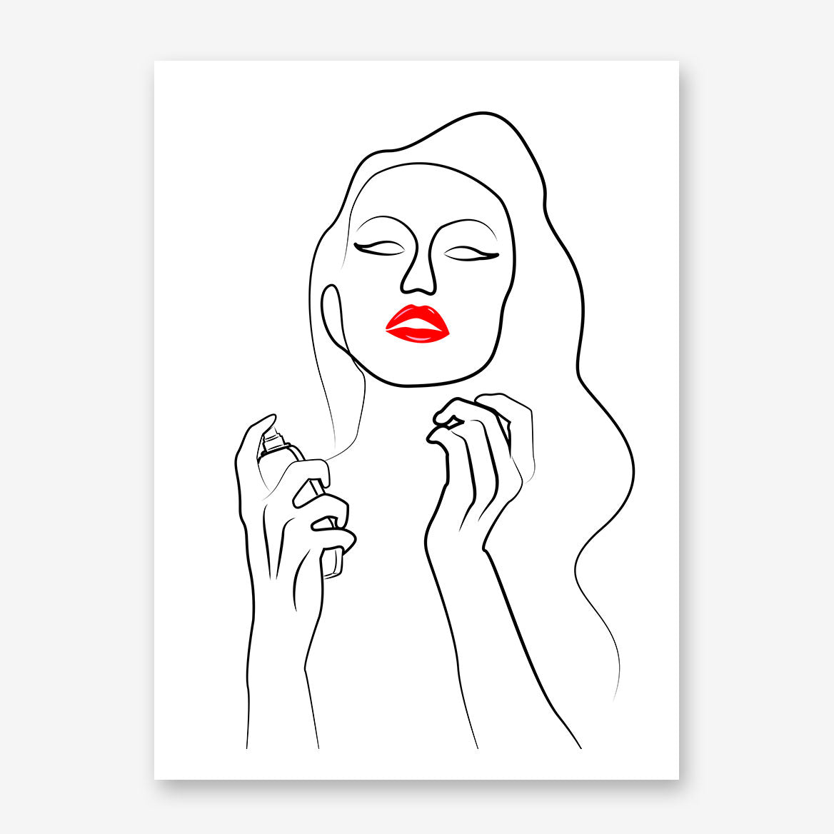 Beauty line art poster print with a woman with red lips, holding a perfume.
