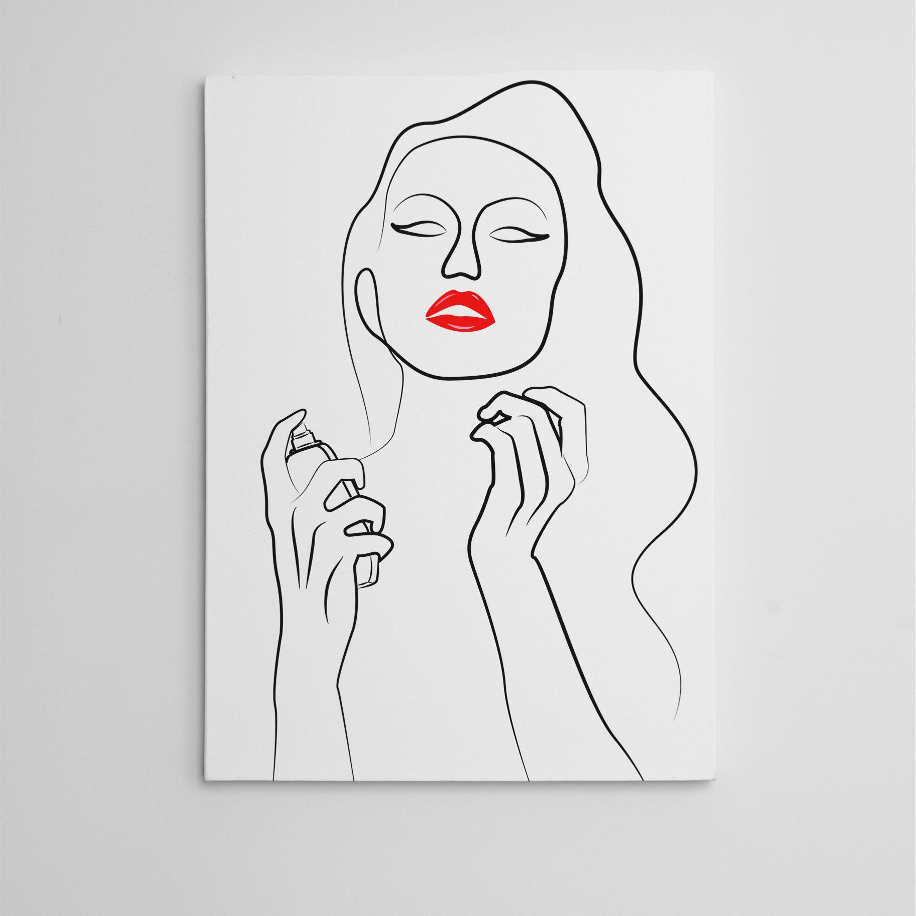 Beauty line art canvas print with a woman with red lips, holding a bottle of perfume.