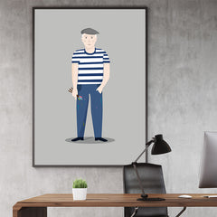 Celebrity illustration print with Picasso stylishly drawn by Judy to bring out the essence of his style and character, in office
