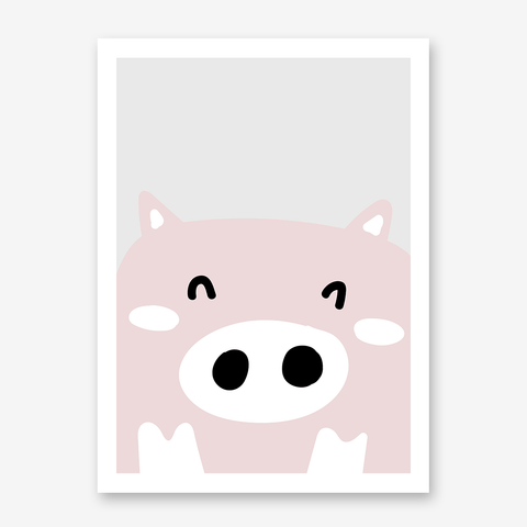 Nursery poster print with a smiley piggy on grey background