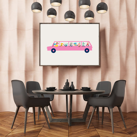 Graphic print by Judy Kaufmann, with a pink limo, on grey background, in dining room