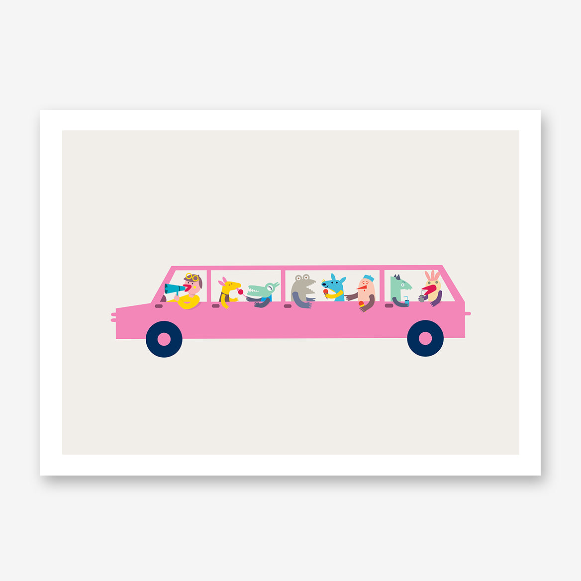 Graphic print by Judy Kaufmann, with a pink limo, on grey background.