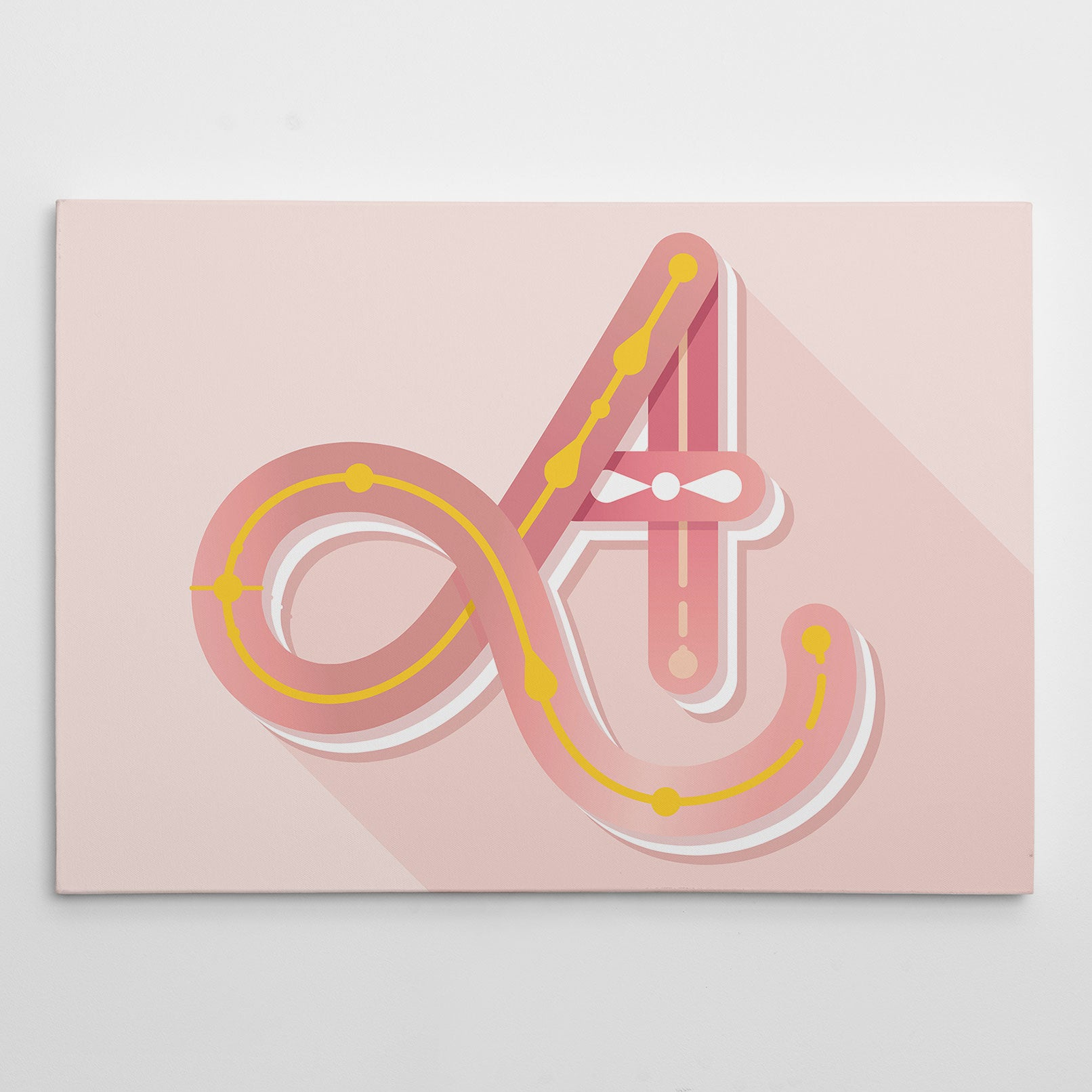 Canvas print with pink girly letter A, on light pink background.