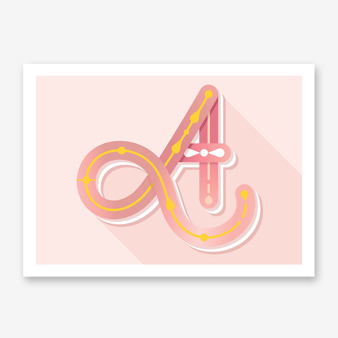 Poster print with pink girly letter A, on light pink background.