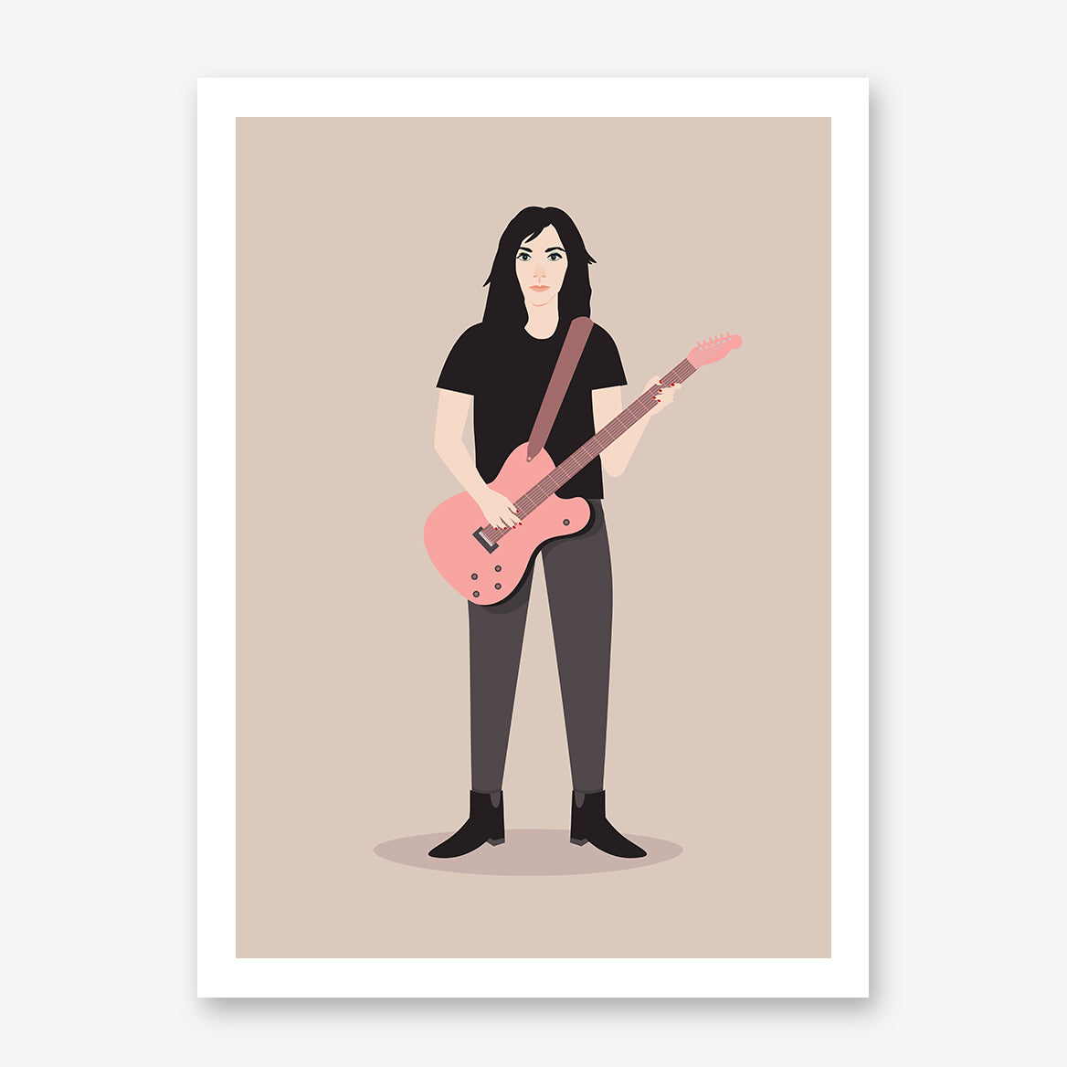 Celebrity illustration print by Judy Kaufmann, with PJ Harvey holding a pink guitar, on light brown background.