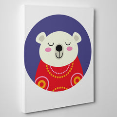 Nursery canvas print with a smiley polar bear in a purple circle - side view