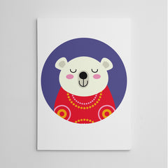 Nursery canvas print with a smiley polar bear in a purple circle.