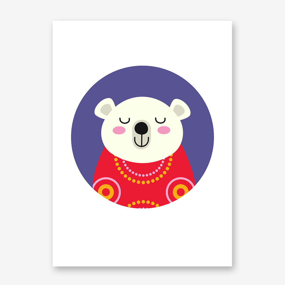 Nursery poster print with a smiley polar bear in a purple circle.