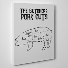 Kitchen canvas print with butcher's pork cuts text and image, on a grey background - side view