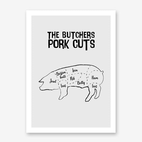 Kitchen poster print with butcher's pork cuts text and image, on a grey background.