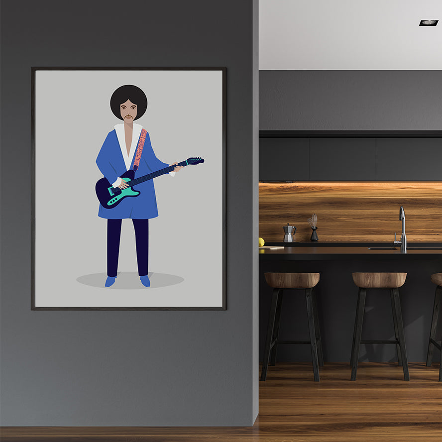 Celebrity illustration print by Judy Kaufmann, with Prince in blue clothes and guitar, on light grey background, in dining room.