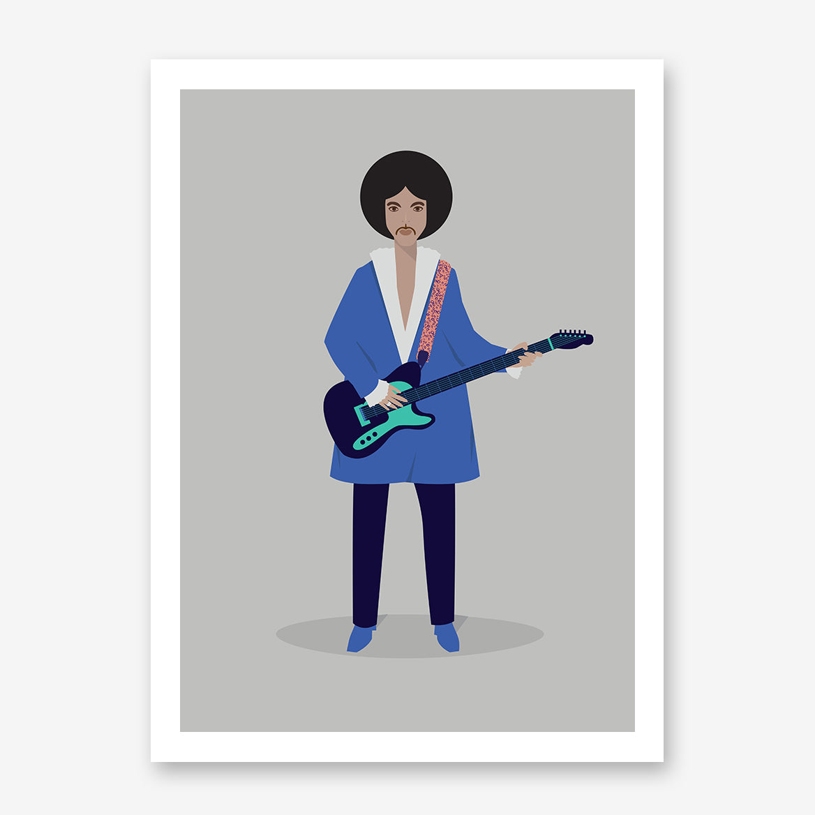 Celebrity illustration print by Judy Kaufmann, with Prince in blue clothes and guitar, on light grey background.