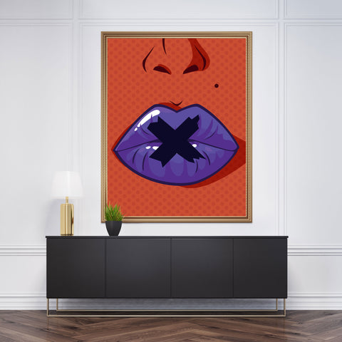 Pop art poster print with shut purple lips, on dark orange background - room view