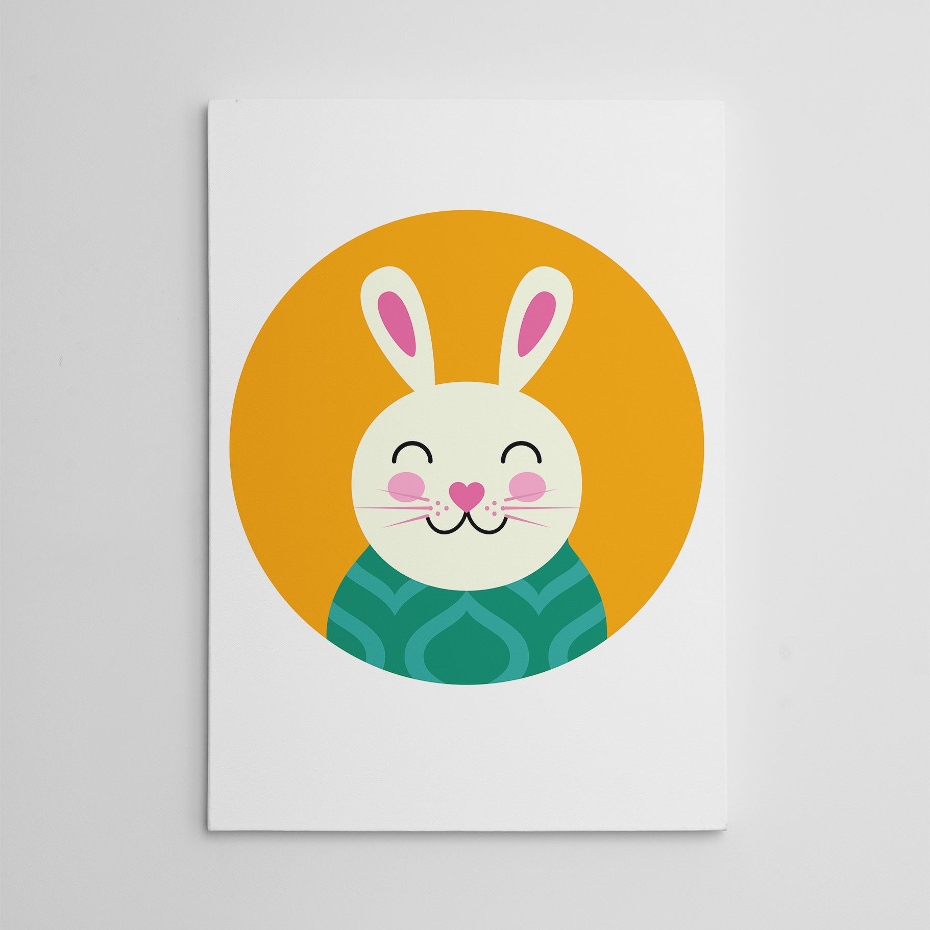 Nursery canvas print with a smiley rabbit in an orange circle.