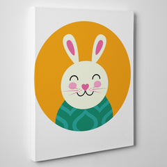 Nursery canvas print with a smiley rabbit in an orange circle - side view