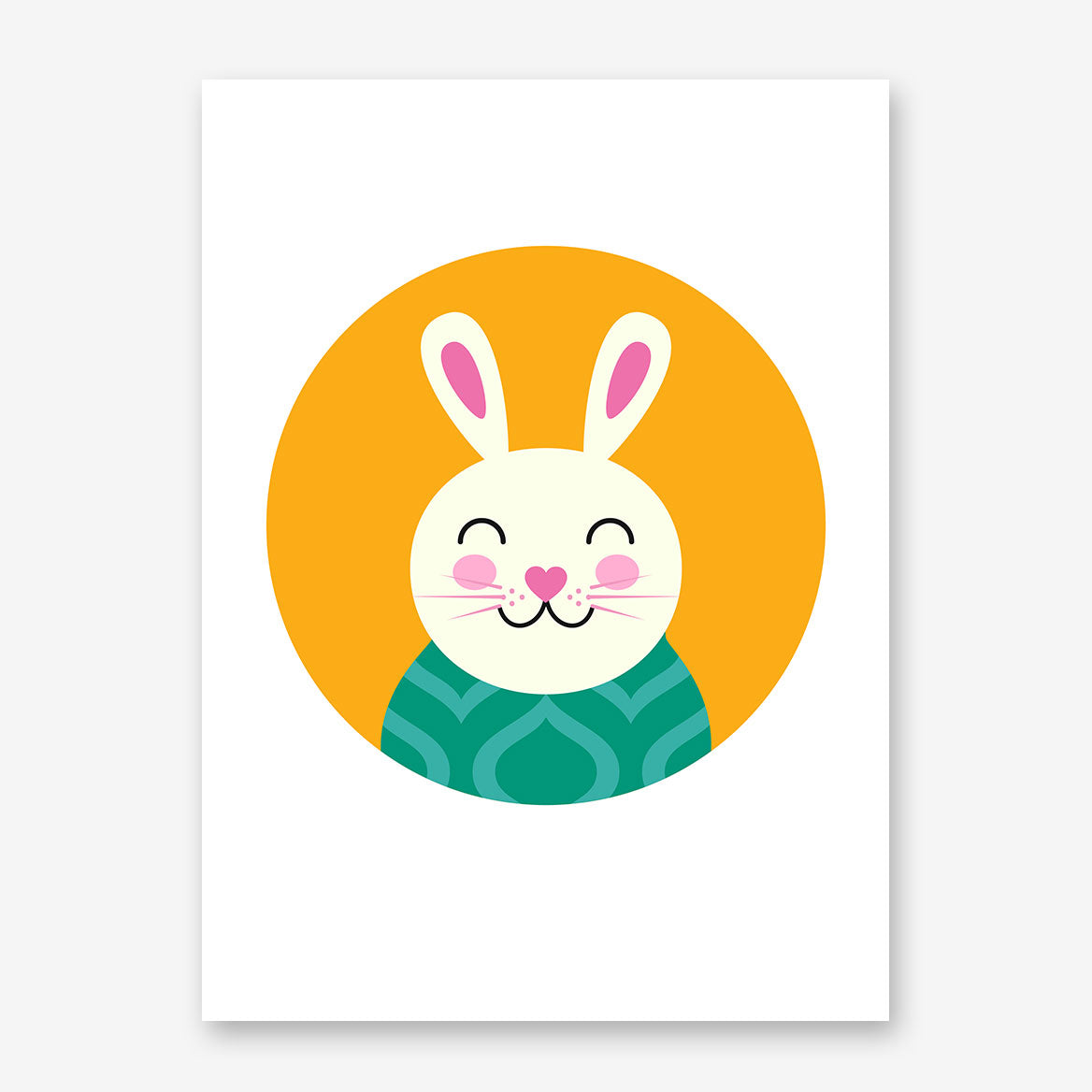Nursery poster print with a smiley bunny in an orange circle.