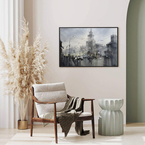 Architecture poster print with a Moscow's street, originally a watercolour painted artwork by Vera Kolgashkina; on hallway