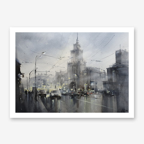 Architecture poster print with a Moscow's street, originally a watercolour painted artwork by Vera Kolgashkina.
