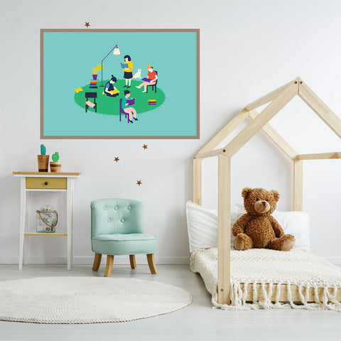 Illustration print with people reading, on green and mint background, in children room