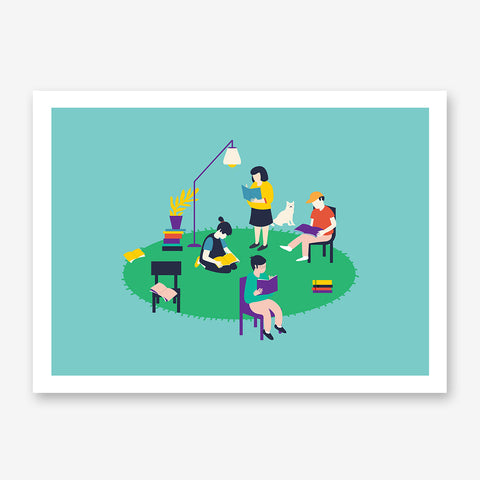 Illustration print with people reading, on green and mint background.