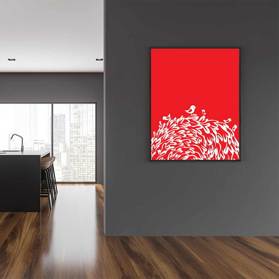 Birds and hearts illustration print, on red background, in dining room
