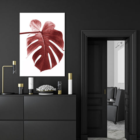 Nature inspired canvas print, with a pale red leaf, on white background - room view