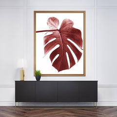 Nature inspired poster print, with a pale red leaf, on white background. Beautiful and modern wall art that will transform any room into a stylish place - wall view