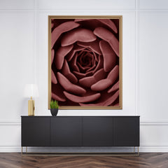 Nature inspired poster print, with a pale red succulent plant close-up - wall view
