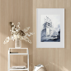Architecture inspired poster print with a white building, originally a watercolour painted artwork by Vera Kolgashkina, on hallway
