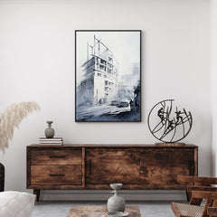 Architecture inspired poster print with a white building, originally a watercolour painted artwork by Vera Kolgashkina, in living room