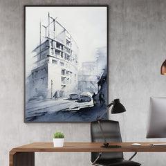 Architecture inspired poster print with a white building, originally a watercolour painted artwork by Vera Kolgashkina, in office