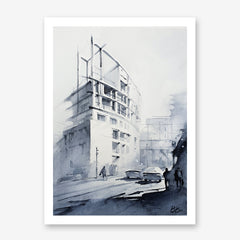 Architecture inspired poster print with a white building, originally a watercolour painted artwork by Vera Kolgashkina.
