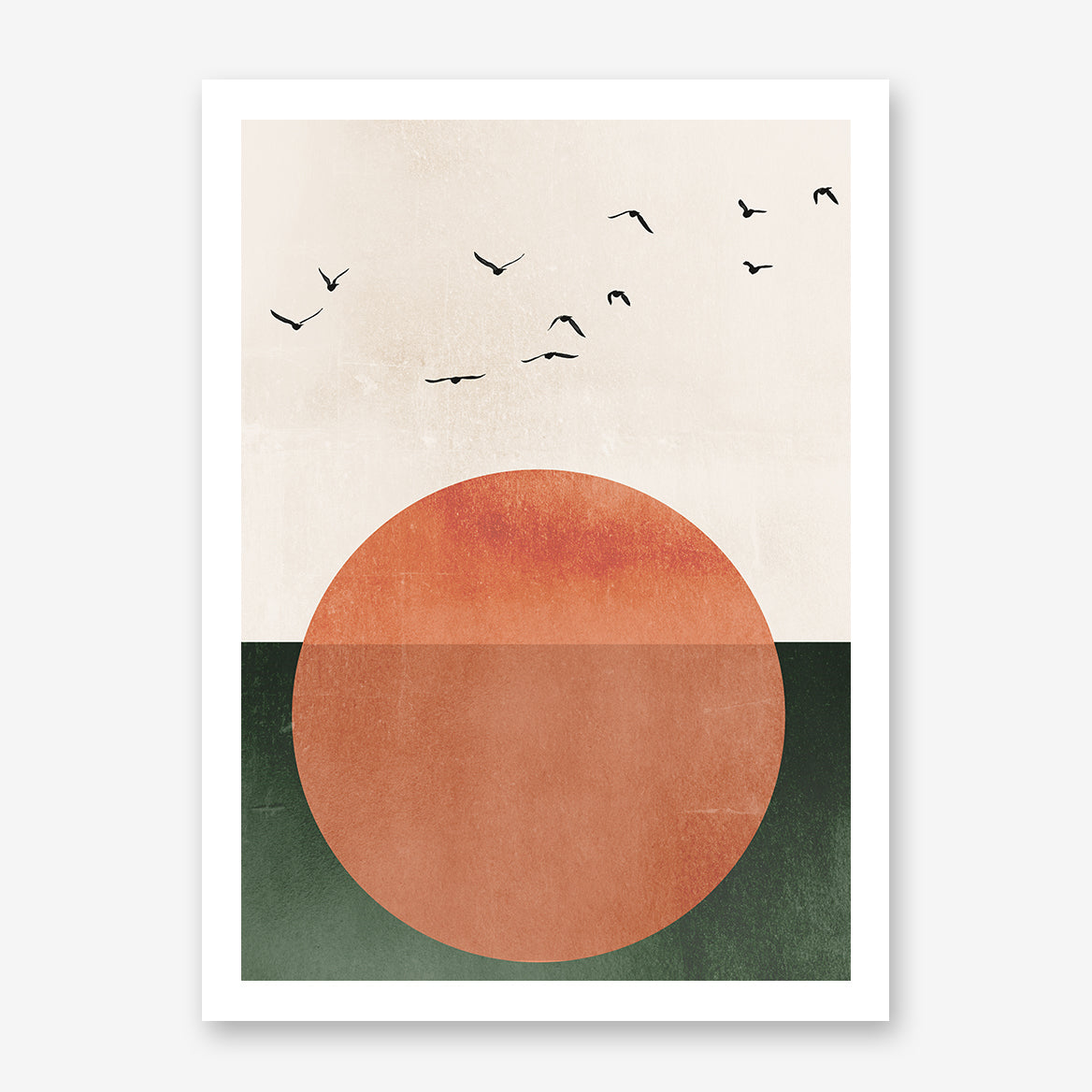 Poster print by Kubistika, with orange sun and black birds, on green and beige background.