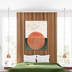 Poster print by Kubistika, with orange sun and black birds, on green and beige background; in bedroom.