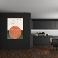 Poster print by Kubistika, with orange sun and black birds, on green and beige background; in dining room