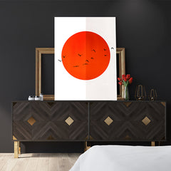Poster print by Kubistika, with red sun and black birds, on half white, half grey background, in bedroom