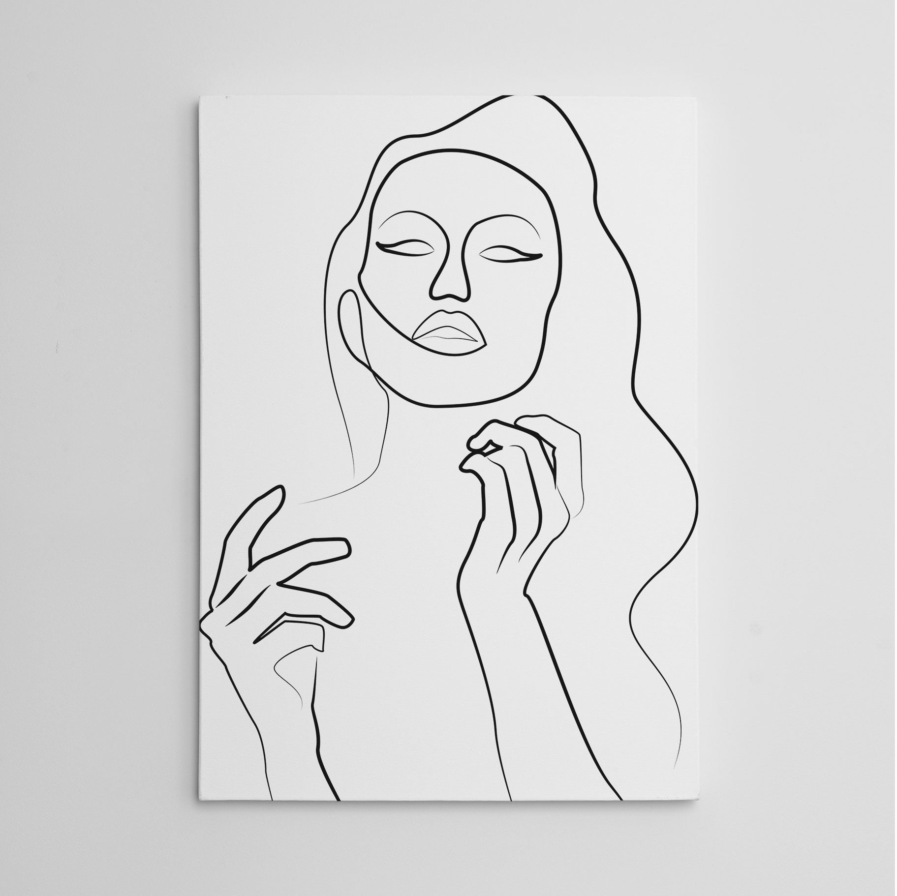 Beautiful line art canvas print with a sensual woman with long wavy hair