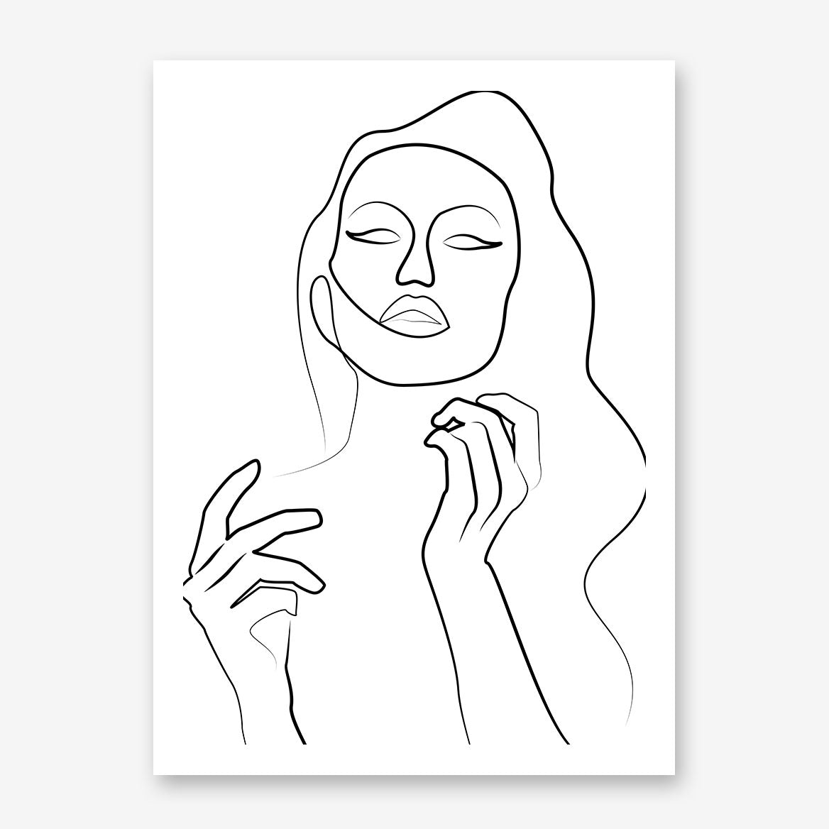 Line art poster print with sensual woman with long wavy hair.