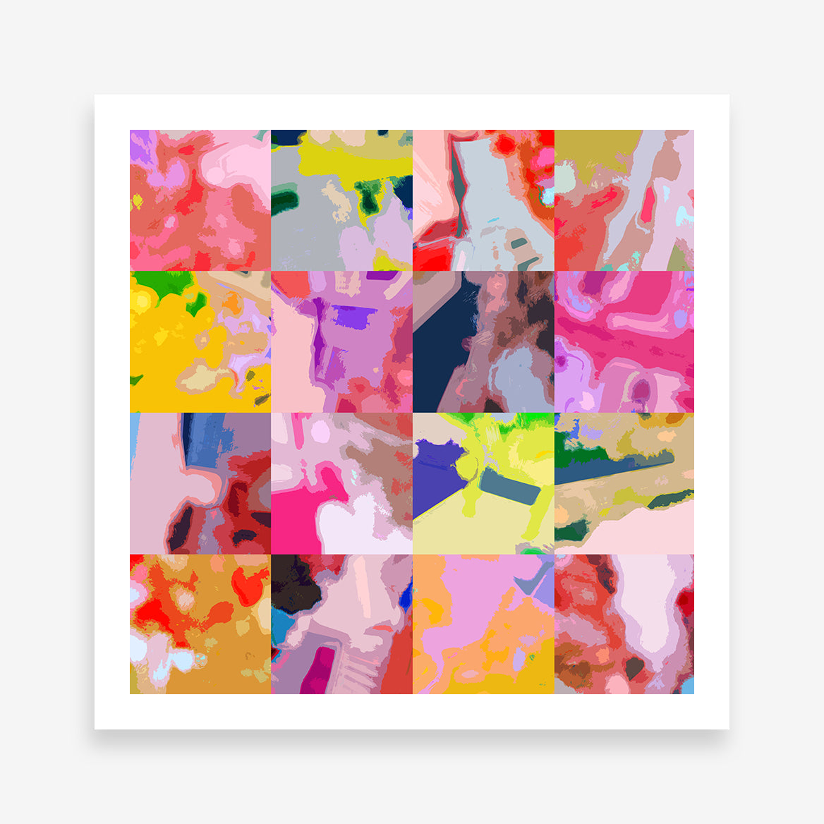 Square poster print with colourful abstract digital art collection.