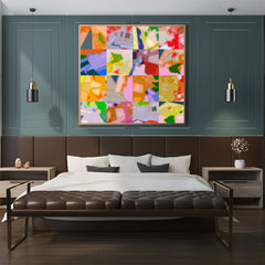 Square poster print with colourful abstract digital art collection, in bedroom