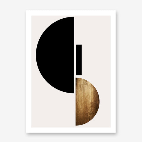 Geometric poster print by Kubistika, with black and gold shapes, on light grey background.