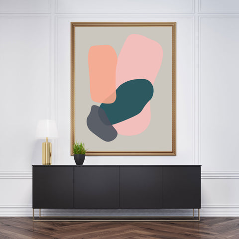 Abstract poster print with colourful shapes on grey background - framed view