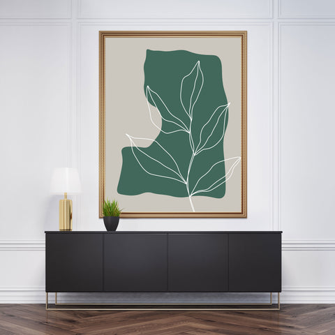 Abstract poster print with white line leaves drawing on green and grey background - framed view