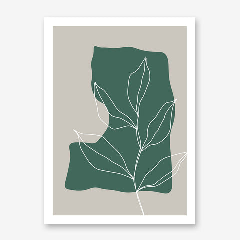 Abstract poster print with white line leaves drawing on green and grey background