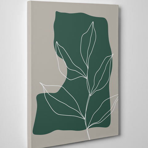 Abstract canvas print with white line leaves drawing on green and grey background - side view