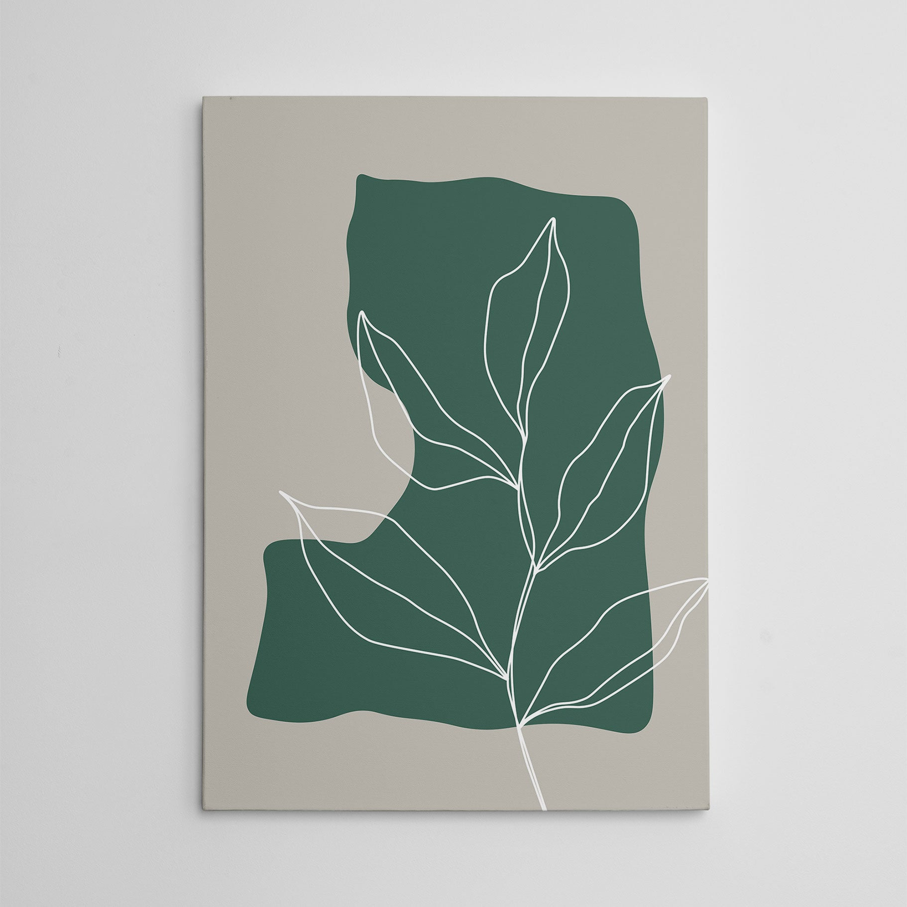 Abstract canvas print with white line leaves drawing on green and grey background.