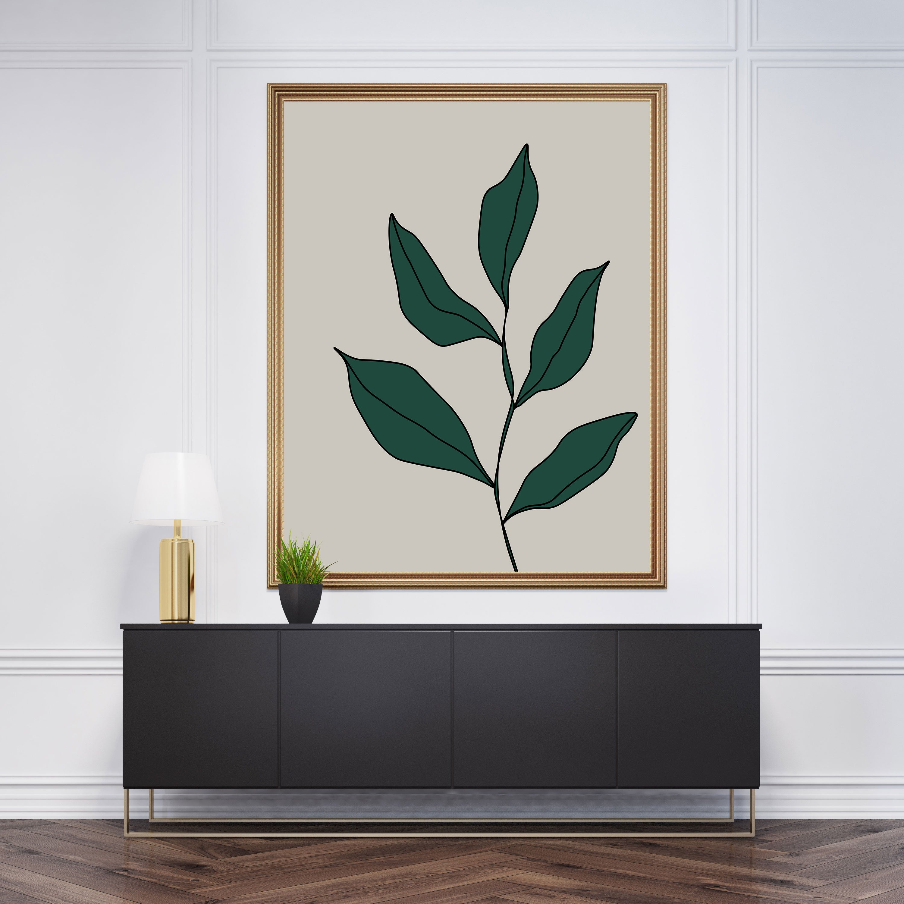 Abstract poster print with green leaves on grey background - framed
